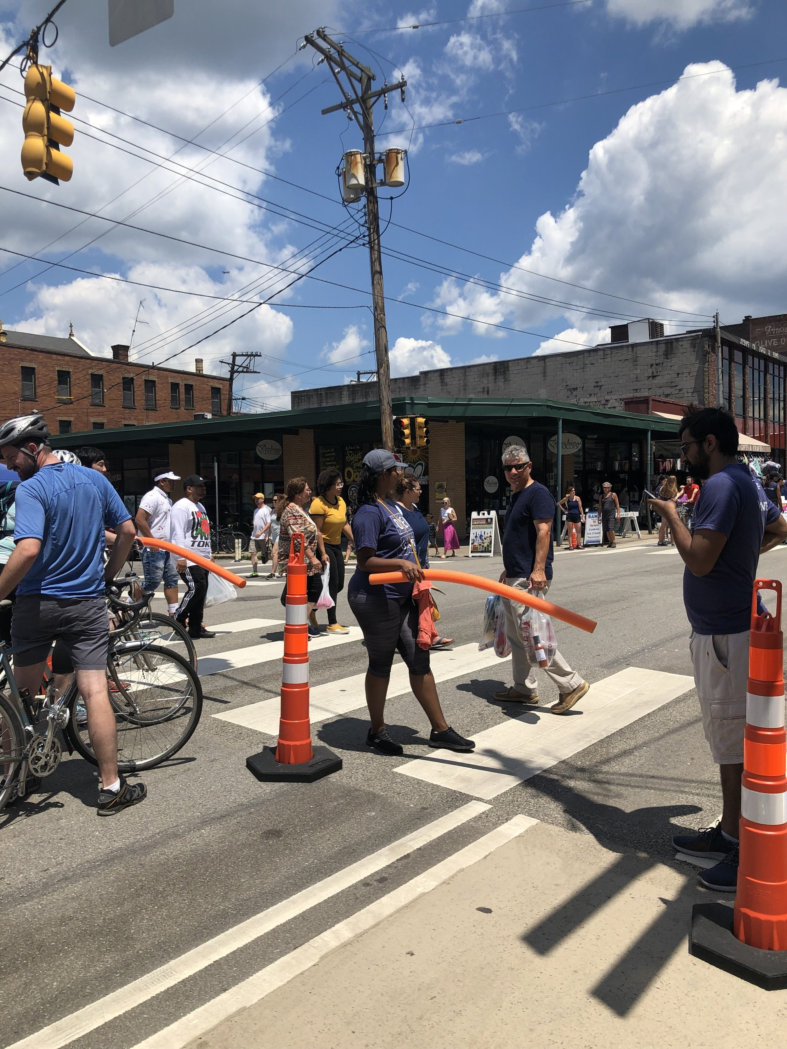 Volunteers were blocking bike traffic, not automobiles!