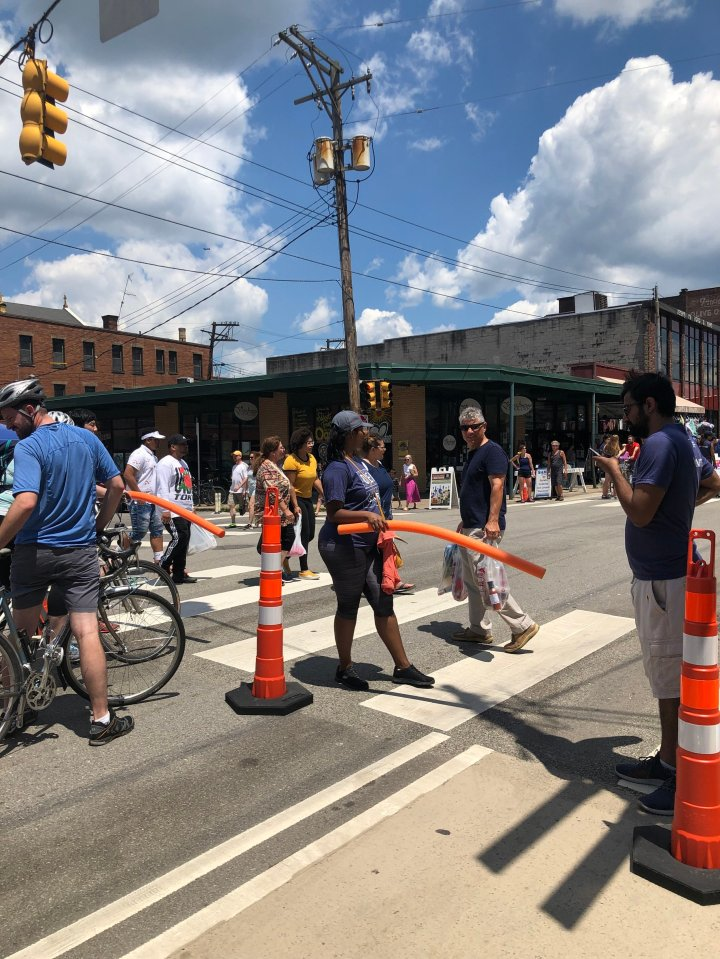 Volunteers were blocking bike traffic, not automobiles!