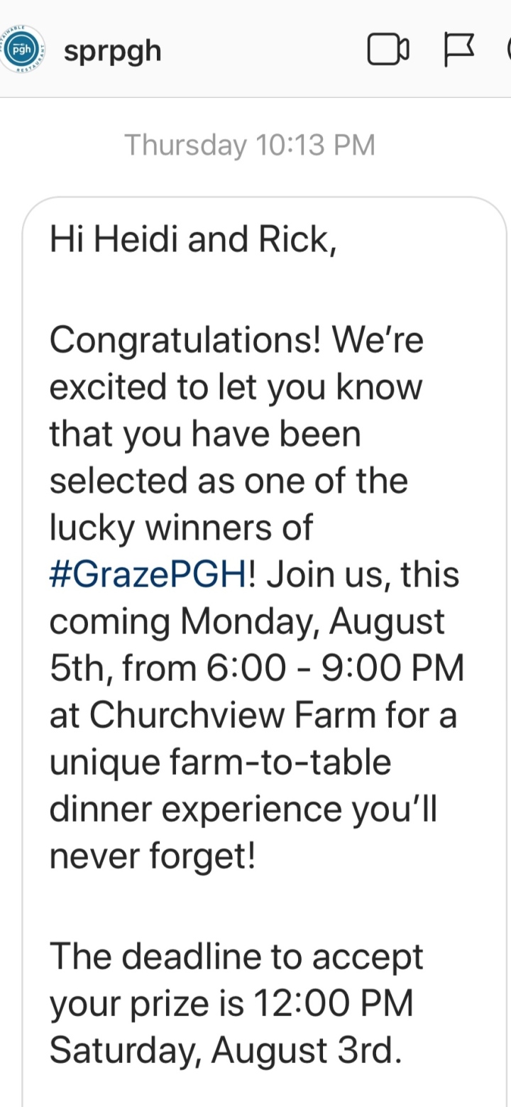 Lots of screaming ensued! I'm so glad I discovered the Instagram message button before the deadline passed!